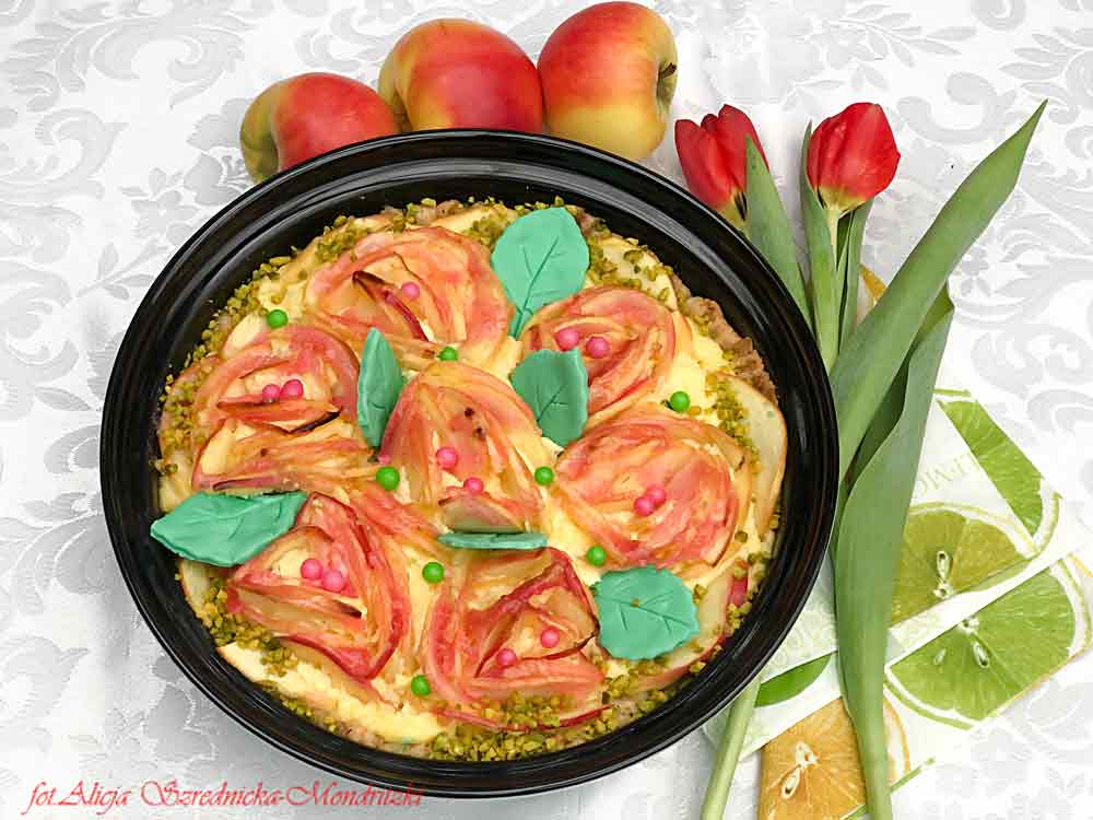 Jabłkowo  - różana tarta