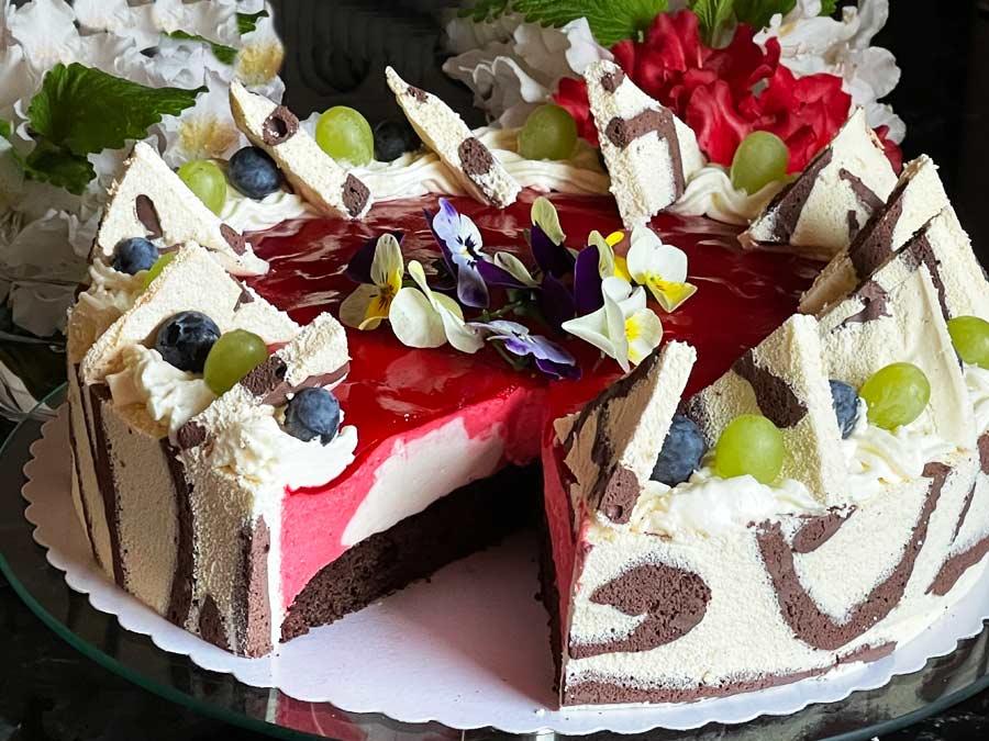 Tort truskawkowy, Mousse z lustrem